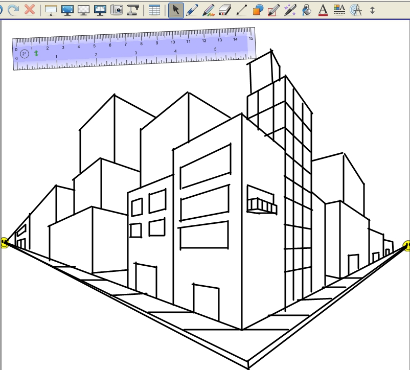 The gallery for two point perspective cityscape for Architecture modern house design 2 point perspective view